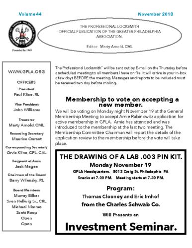 November 2018 GPLA Newsletter